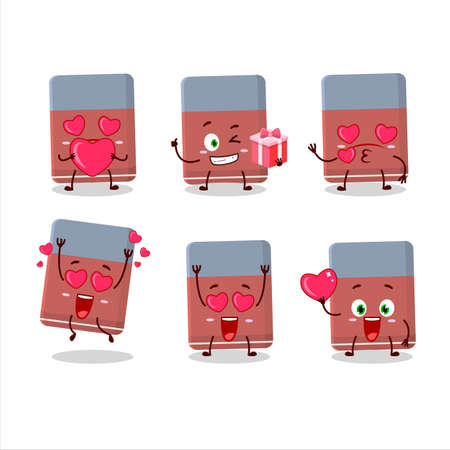 Eraser cartoon character with love cute emoticon Ilustrace