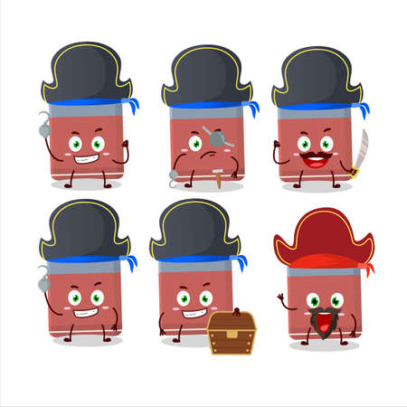 Cartoon character of eraser with various pirates emoticons