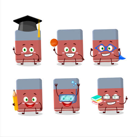 School student of eraser cartoon character with various expressions