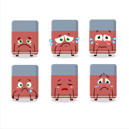 Eraser cartoon in character with sad expression Ilustrace
