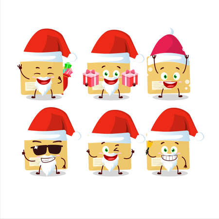Santa Claus emoticons with file folder cartoon character