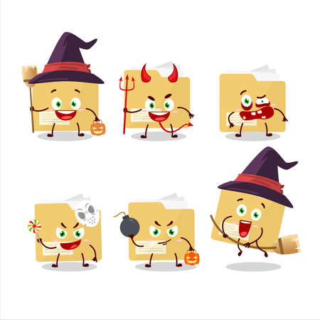 Halloween expression emoticons with cartoon character of file folder