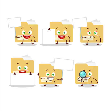 File folder cartoon character bring information board