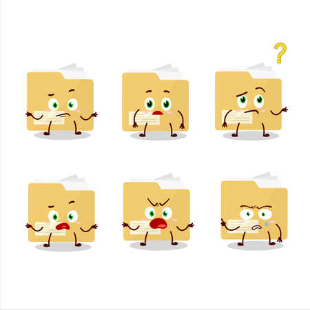 Cartoon character of file folder with what expression