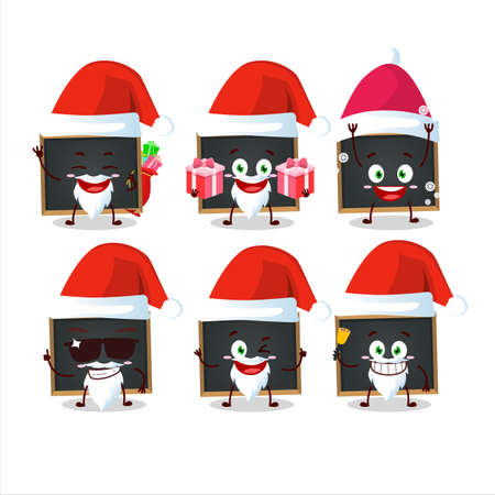 Santa Claus emoticons with blackboard cartoon character