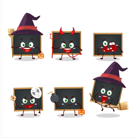 Halloween expression emoticons with cartoon character of blackboard