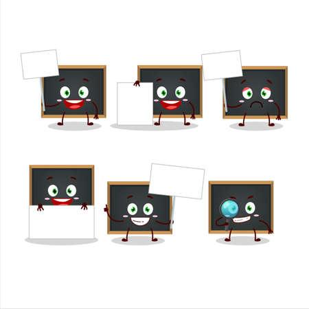 Blackboard cartoon in character bring information board