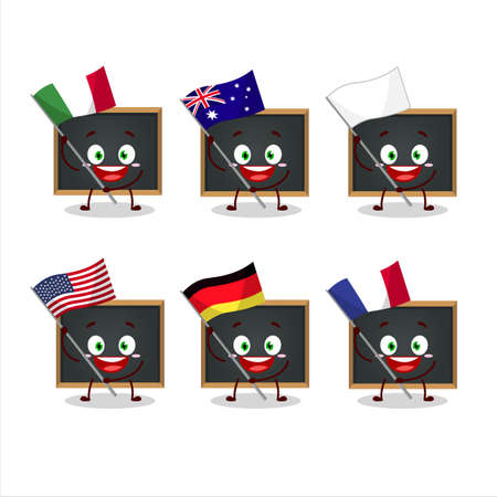 Blackboard cartoon character bring the flags of various countries Vettoriali