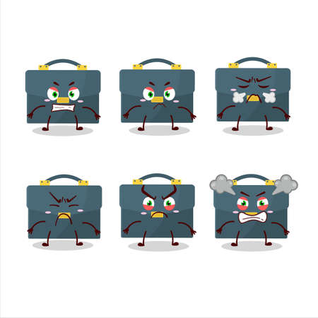Briefcase cartoon character with various angry expressions