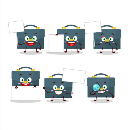 Briefcase cartoon in character bring information board