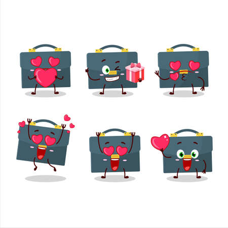 Briefcase cartoon character with love cute emoticon