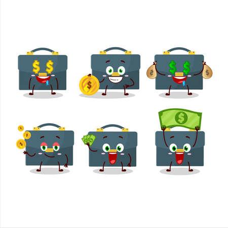 Briefcase cartoon character with cute emoticon bring money