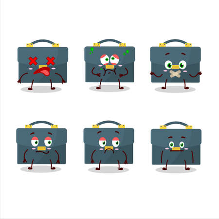 Briefcase cartoon in character with nope expression  イラスト・ベクター素材