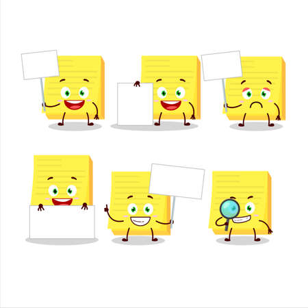 Sticky notes yellow cartoon character bring information board Illustration