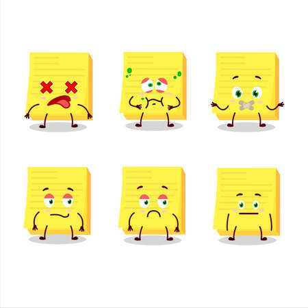 Sticky notes yellow cartoon character with nope expression