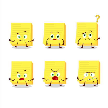 Cartoon character of sticky notes yellow with what expression