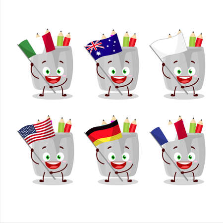 Glass of pencil cartoon character bring the flags of various countries Vettoriali