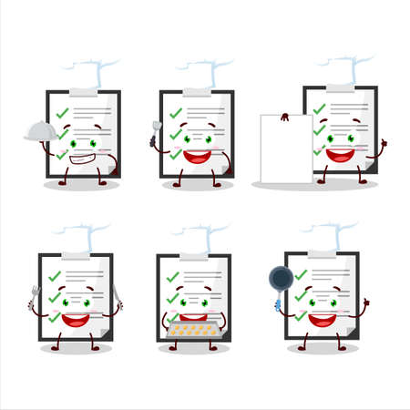 Cartoon character of clipboard with checklist with various chef emoticons