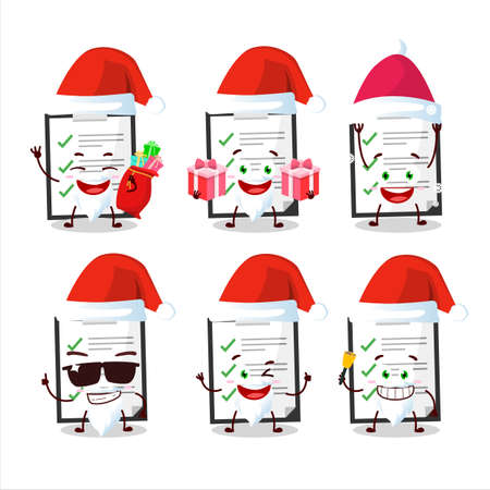Santa Claus emoticons with clipboard with checklist cartoon character  イラスト・ベクター素材