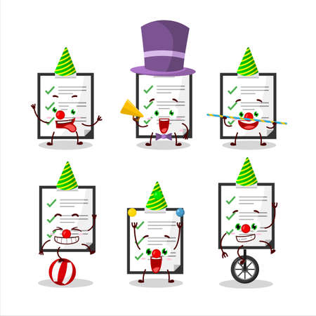 Cartoon character of clipboard with checklist with various circus shows