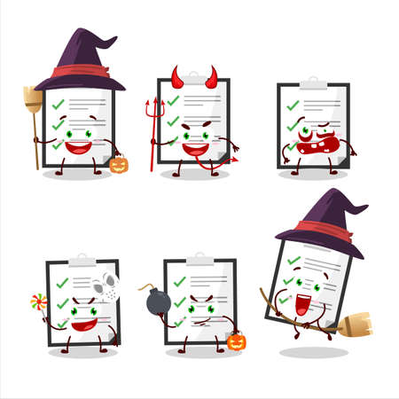 Halloween expression emoticons with cartoon character of clipboard with checklist  イラスト・ベクター素材