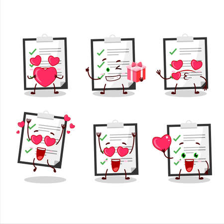 Clipboard with checklist cartoon character with love cute emoticon