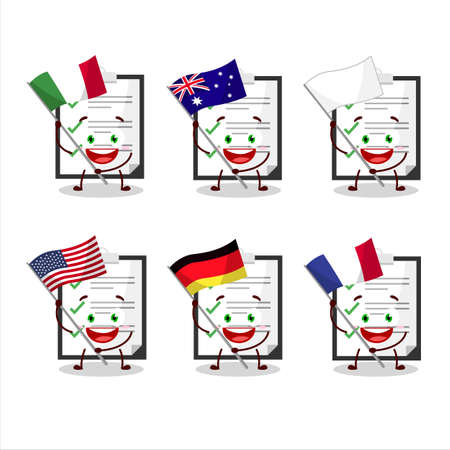 Clipboard with checklist cartoon character bring the flags of various countries