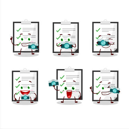 Photographer profession emoticon with clipboard with checklist cartoon character