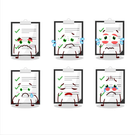 Clipboard with checklist cartoon character with sad expression  イラスト・ベクター素材