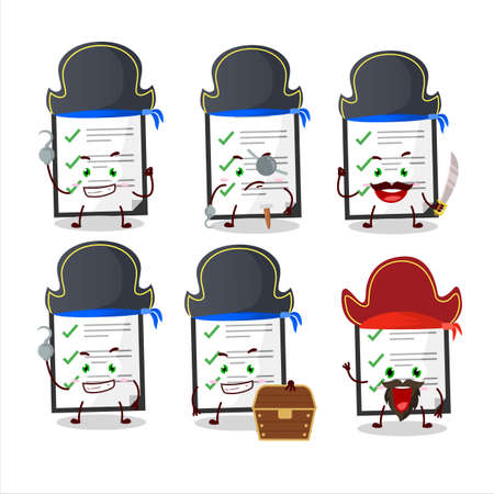 Cartoon character of clipboard with checklist with various pirates emoticons