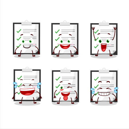 Cartoon character of clipboard with checklist with smile expression