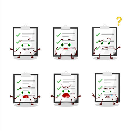 Cartoon character of clipboard with checklist with what expression