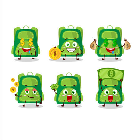 Green school bag cartoon character with cute emoticon bring money Illusztráció