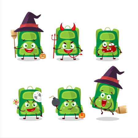 Halloween expression emoticons with cartoon character of green school bag Ilustracja