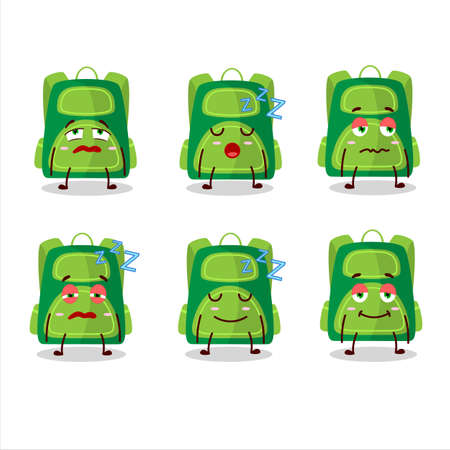 Cartoon character of green school bag with sleepy expression Illusztráció