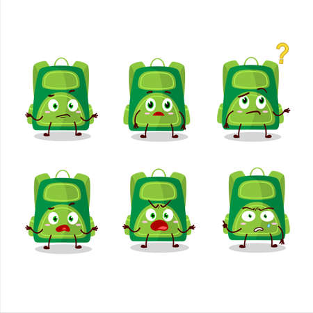 Cartoon character of green school bag with what expression