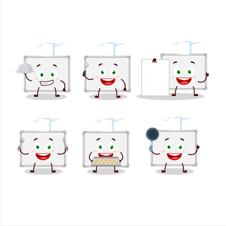 Cartoon character of whiteboard with various chef emoticons