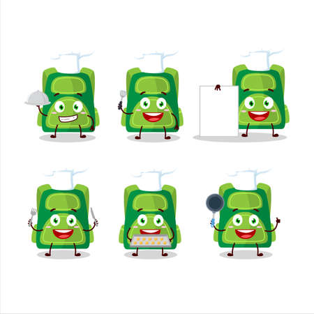 Cartoon character of green school bag with various chef emoticons