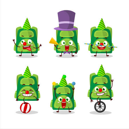 Cartoon character of green school bag with various circus shows