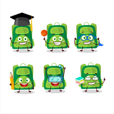 School student of green school bag cartoon character with various expressions