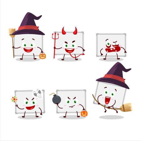 Halloween expression emoticons with cartoon character of whiteboard