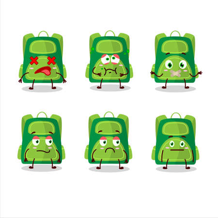 Green school bag cartoon character with nope expression