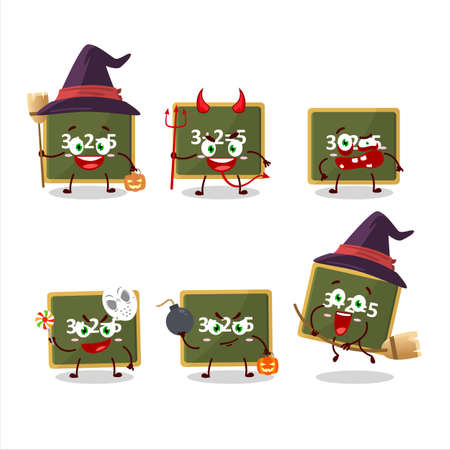 Halloween expression emoticons with cartoon character of chalk board