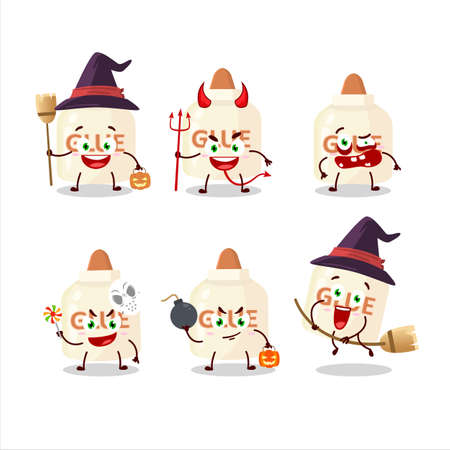 Halloween expression emoticons with cartoon character of glue