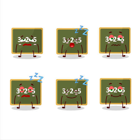 Cartoon character of chalk board with sleepy expression