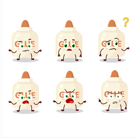 Cartoon character of glue with what expression