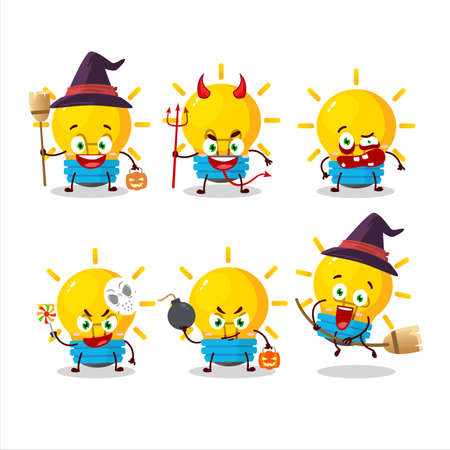 Halloween expression emoticons with cartoon character of lamp ideas