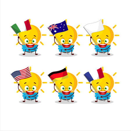 Lamp ideas cartoon character bring the flags of various countries Vettoriali