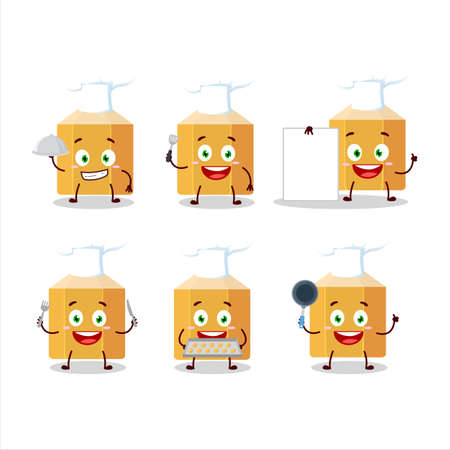 Cartoon character of pencil with various chef emoticons Иллюстрация