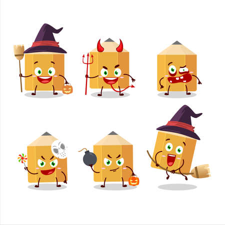 Halloween expression emoticons with cartoon character of pencil
